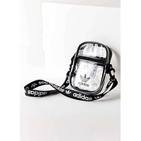 Adidas Originals Tide brand women's transparent Messenger bag Black