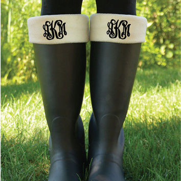 Monogrammed Boot Cuff Socks              Personalized Fleece Boot Inserts                                  New Englander Boot Socks Cream
