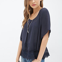 Crochet-Trimmed Blouse