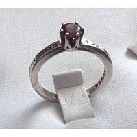 Hebrew Beloved Ring Ruby Red Center Stone