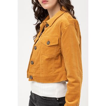 Crop Long Sleeve Button Down Corduroy Jacket with Stretch
