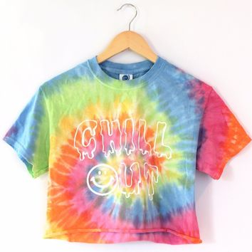 Chill Out Pastel Tie-Dye Graphic Unisex Crop Top