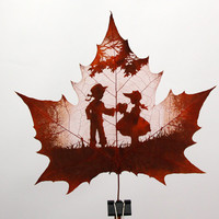Leaf engraving  love between a boy and girl  unique love gift for her or him