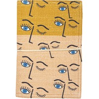 Winking Eye Fabric Covered Journal with Tie Closure | 1980s Memphis-Inspired Design