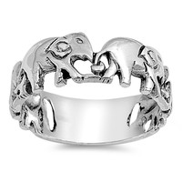 925 Sterling Silver Travelling Elephants Ring 8MM