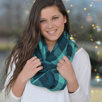 Teal Perfect Plaid Scarf