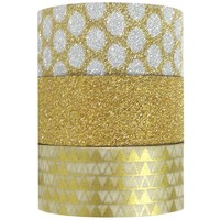 Wrapables Gold Treasure Washi Masking Tape, 5M by 15mm, Set of 3