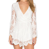 Lace Billow Front Playsuit in White
