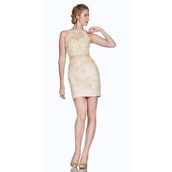 Halter Fitted Mini Cocktail Dress with Sheer Midriff Cream