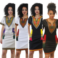 New Summer Dress Sexy Mini African Tranditional Print Dashiki Dress Ladies Dresses Folk Art African Women Dress Clothing