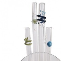 Frosty Family Glass Drinking Straws made by Strawesome. Welcome to LuxeYard.com