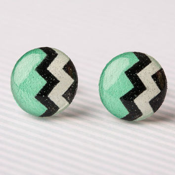 Tribal Striped Post Earrings in Mint and Black