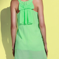 Solid Color Bowknot Embellished  Scoop Neck Sleeveless Dress