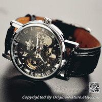 Mens Steampunk Leather Wrist Watch Groomsmen Gift, Mechanical Watch , Anniversary Gift For Men (ET0083-BLACK)