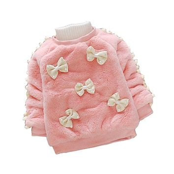 Children Girls O-Neck Sweaters For Baby Girls Winter Cute Velvet Sweater Kids Girls Warm Pullover Sweaters Clothing