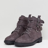 RAID Helena Gray Multi Buckle Grunge Flat Ankle Boots at asos.com