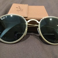 Ray Ban Polarised Round Metal Sunglasses RB3447