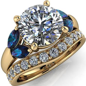 Adrenne Round Center Stone 4 Prong Double Alexandrite Marquise Side Ring