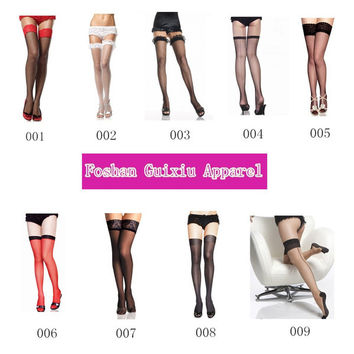 Sexy Thigh High Socks For Women Fishnet Thigh Highs Sheer Stockings Lace Top Mesh Strech Nylon 9 Styles