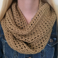 Chunky Infinity Scarf, Thick Crochet Bulky Winter Scarf, Loop Scarf, Circle Scarf, Natural Beige Neckwarmer