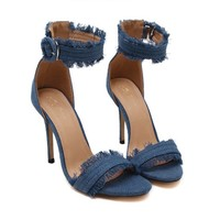Fray Denim Heels