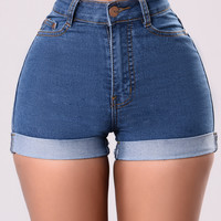 Carter Denim Shorts - Medium Wash