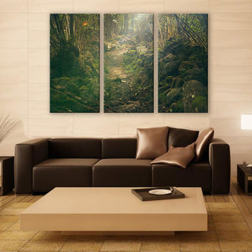 Fairytale Sunlight on a Forest Path  Print 3 Panels Print Wall Decor Fine Art Photography Repro Print for Home and Office Wall Decoration