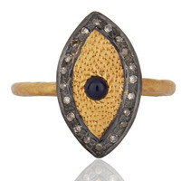 Natural Blue Sapphire Pave Diamond Designer Ring Hallmarked 925 Sterling Silver