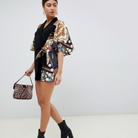 ASOS DESIGN romper with cape and scarf print detail | ASOS
