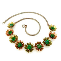 Mixed Metal Green Rhinestone Floral Choker Necklace, Fun Flower Collar, Copper Brass & Silver Tone Metal, Mid-Century Design, Gift for Her