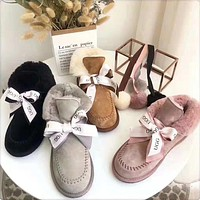 """""""UGG"""" Winter Trending Women Stylish Pompom Ball Bow Leather Wool Boots Shoes In Tube"""