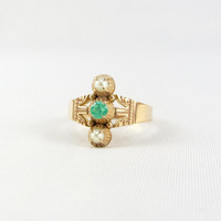 Antique Victorian 14K Rose Gold Emerald and Seed Pearl Ring Size 5.5 Late 1800s May Birthstone Green Gemstone Fine Jewelry