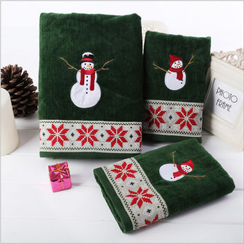 100%Cotton velvet towel Christmas Series 3 pieces/set with Christmas snow man super soft hand strong water absorption
