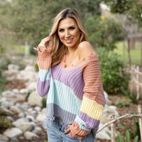 Pastel Jagged Edge Stripe Knit Sweater