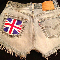 Levis high waist denim shorts Studded super frayed with UK flag and studs all sizes.