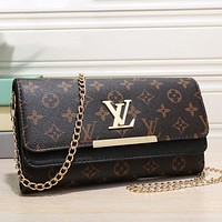 Louis Vuitton LV Women Fashion Leather Chain Crossbody Satchel