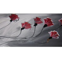 HUGE ABSTRACT CANVAS PAINTING WALL ART  grey red poppies