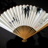 On Sale - Vintage 1970s Paper Fan with Chinese Black Watercolor Design