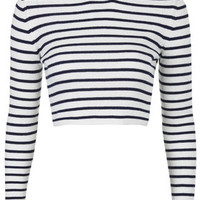 Striped Funnel Neck Crop Sweater - White