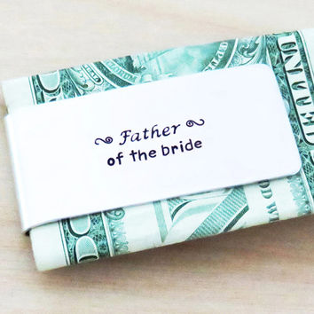 Father of the Bride Gift - Money Clip wedding gift - Aluminum Money Clip - daughter wedding gift for dad