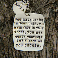 Dr Seuss Graduation Quote Necklace, Dr Seuss, Funny Graduation Gift, Choose your Path Quote, Square Personalized Quote