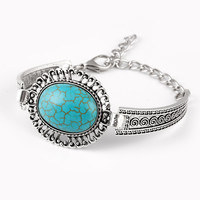 Turquoise Stone Bracelet Vintage Tibetan Silver Bracelets Bohemain Bangle For Women Jewelry Band  brazalete