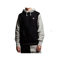Champion Men's Weave Colorblock Black With Gray Hoodie