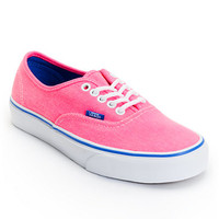 Vans Women's Authentic Pink & Palace Blue Washed Twill Shoe