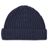 Navy Ribbed Cashmere Beanie