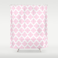 Pink Quatrefoil Pattern Shower Curtain by Marianne Gilliand