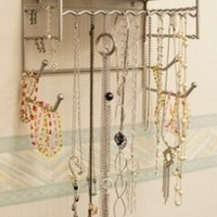"""Silver 10"""" Wall Mount Jewelry & Accessory Storage Rack Organizer Shelf for Earrings, Bracelets, Necklaces, & Hair Accessories"""