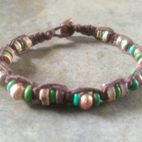 Mens Bamboo Bracelet, Summer Fashion for Him, Copper Heishi Beads, Coconut Shell, For Him, Graduation Gift, Men's Jewelry, Free USA Shipping