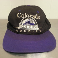 Vintage 90's Colorado Rockies Snapback Dad Hat MLB Baseball Cap Black Purple Made By Twins Throwback Logo