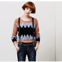 Zig-Zag Print Long-Sleeve Pullover Knitted Shirt